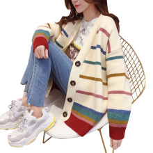Rainbow Striped Female Cardigan Sweater 2019 New Autumn Winter Thick Warm Single-breasted Loose Knitted Sweater Women Long Coat women sweater cashmere cardigan 2019 new autumn winter single breasted loose knitted cardigan female sweaters coat plus size