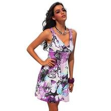 2016 Summer Mini Dress for Women Bandage Bohemian Print Floral Sexy Lace Beach Sundress Casual V-Enck Bodycon Dresses Vestido