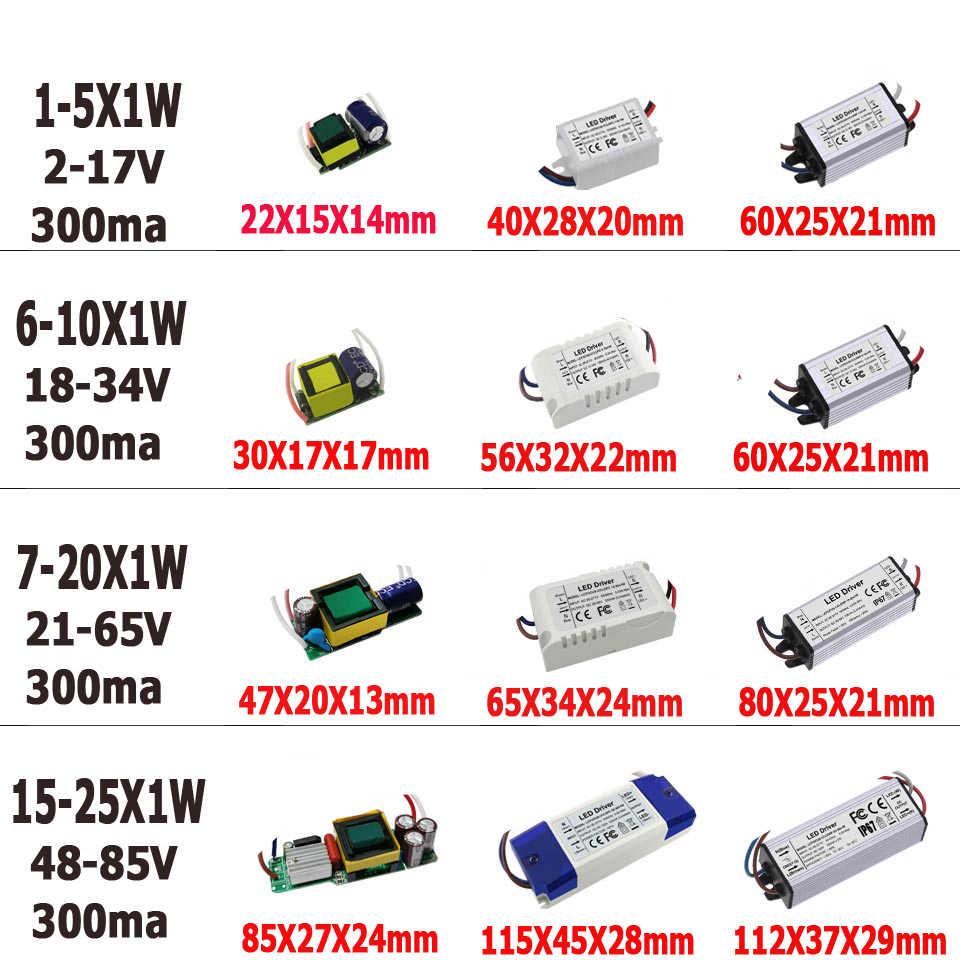 Controlador LED sin parpadeo de 1W, 3W, 5W, 10W, 20W, 30W, 36W, 50W, 100W, fuente de alimentación para transformadores de iluminación de 1, 3, 5, 10, 20, 30, 50, 100W