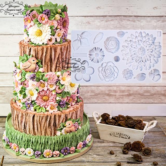 Yueyue Sugarcraft Flower Silicone mold fondant mold cake ...