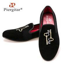 Ключ вышивкой мужские бархатные Тапочки мужские плюс Размеры Лоферы мужская обувь на плоской подошве Размеры США 6-14 Бесплатная доставка