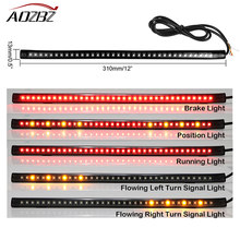 LED Mobil Motor Jalur Mengalir Cahaya Brake Turn Signal SMD 3528 36-LED Plat Light Bar Amber Fleksibel Merah(China)