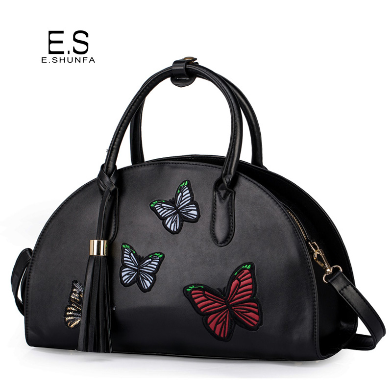 Embroidery Butterfly Handbag 2018 Fashion Design Women Handbags With Tassel Casual PU Leather Tote Shoulder Bag Black Red Khaki sweet women s tote bag with color block and pu leather design
