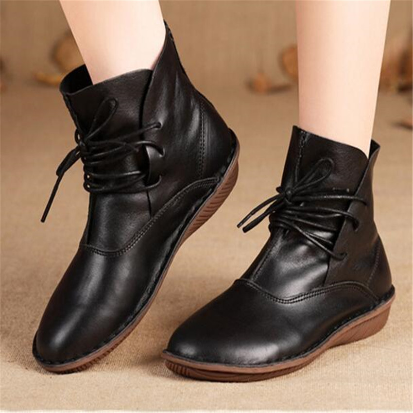 Women Genuine leather boots feature apricot leather shoes retro Japanese art Sen female round boots wholesale