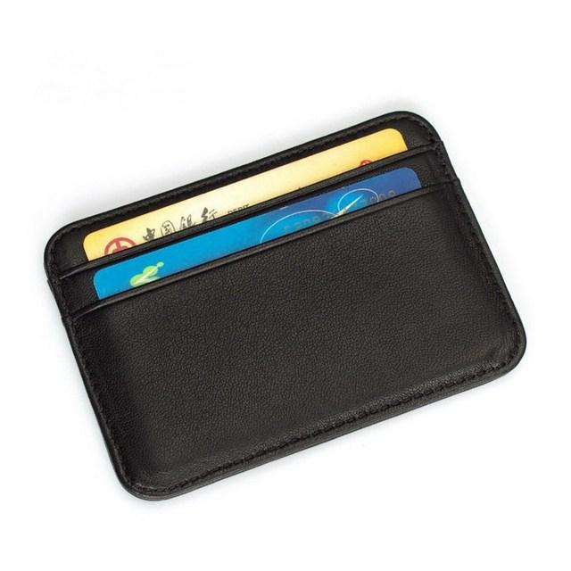 9dd74a43614 Super Slim Soft 100% Sheepskin Genuine Leather Credit Card Holder Card  Wallet Organizer Men Wallets Women Purse