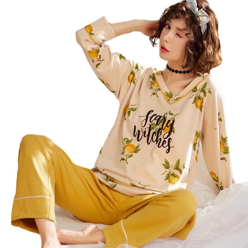 2019 Spring New Pijama Mujer Ladies   Pajama     Set   Sweet Cartoon 2Piece   Set   Long-sleeved Cotton Comfort Leisure Wear Household Wear