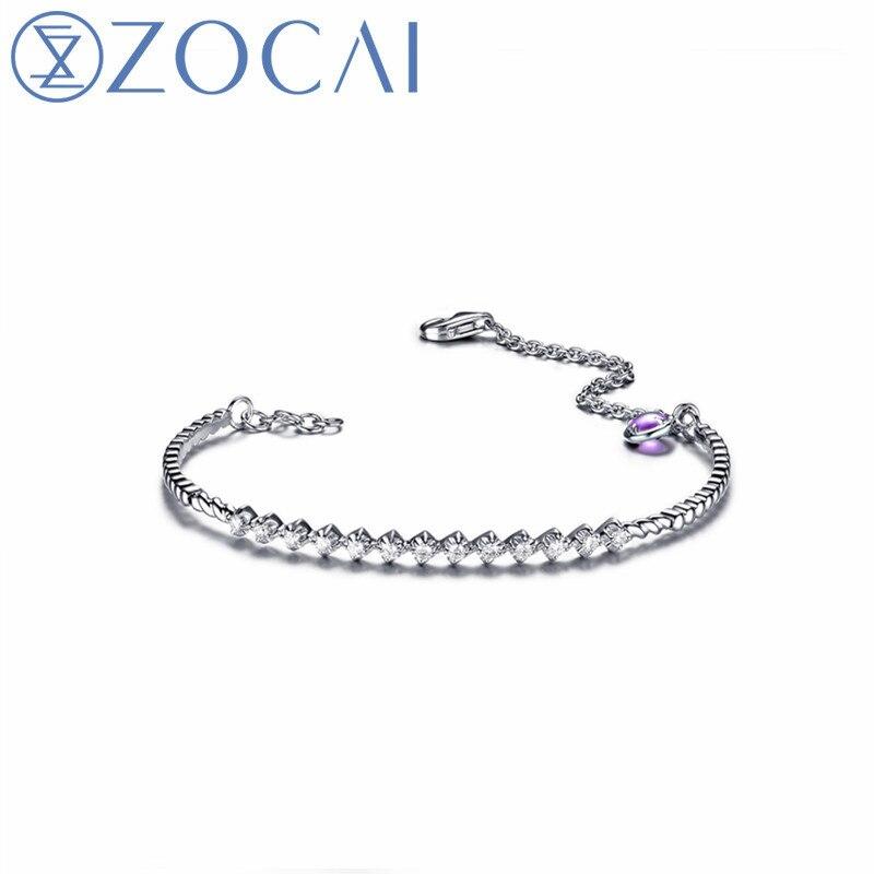 ZOCAI Amethyst/Garnet Bracelet 18K White Gold 0.20 CT Diamond Bracelet Fine Jewelry Z00214 jinhui 18k 750 0 05 ct jh bs1380