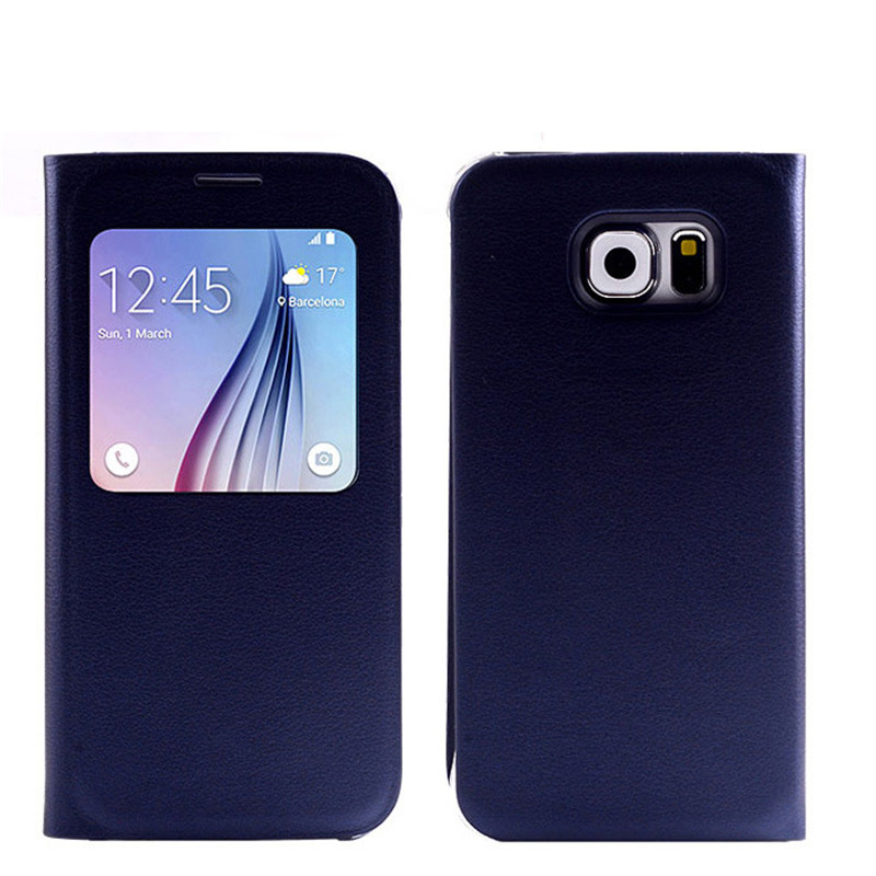 imágenes para Luxury Smart View de Windows PU Flip Funda de Cuero Para Samsung Galaxy S6 G920 G920F G920A Cubierta de Reposo Automático Chip IC
