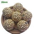 Free Shipping Handmade Rhinestone Beads 12mm 14mm 16mm 18mm 20mm 22mm 24mm 26mm Gold Rhinestone Chunky Bubblegum Beads
