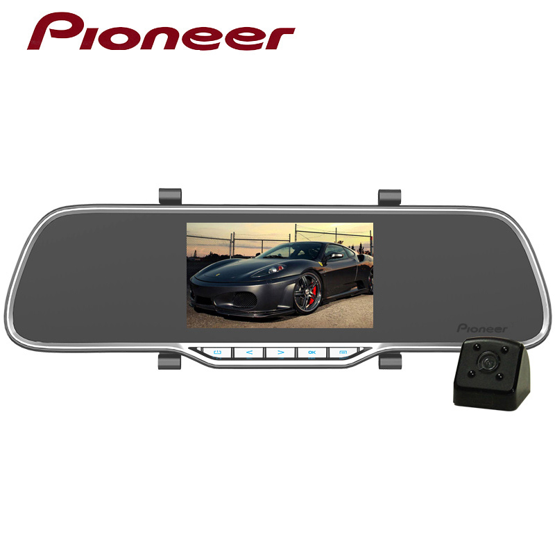 Pioneer 4.3 Car Dual Lens Dash Camera With Night Vision Rear view Mirror Car DVR Video Recorder Full HD 1080P Parking Monitor