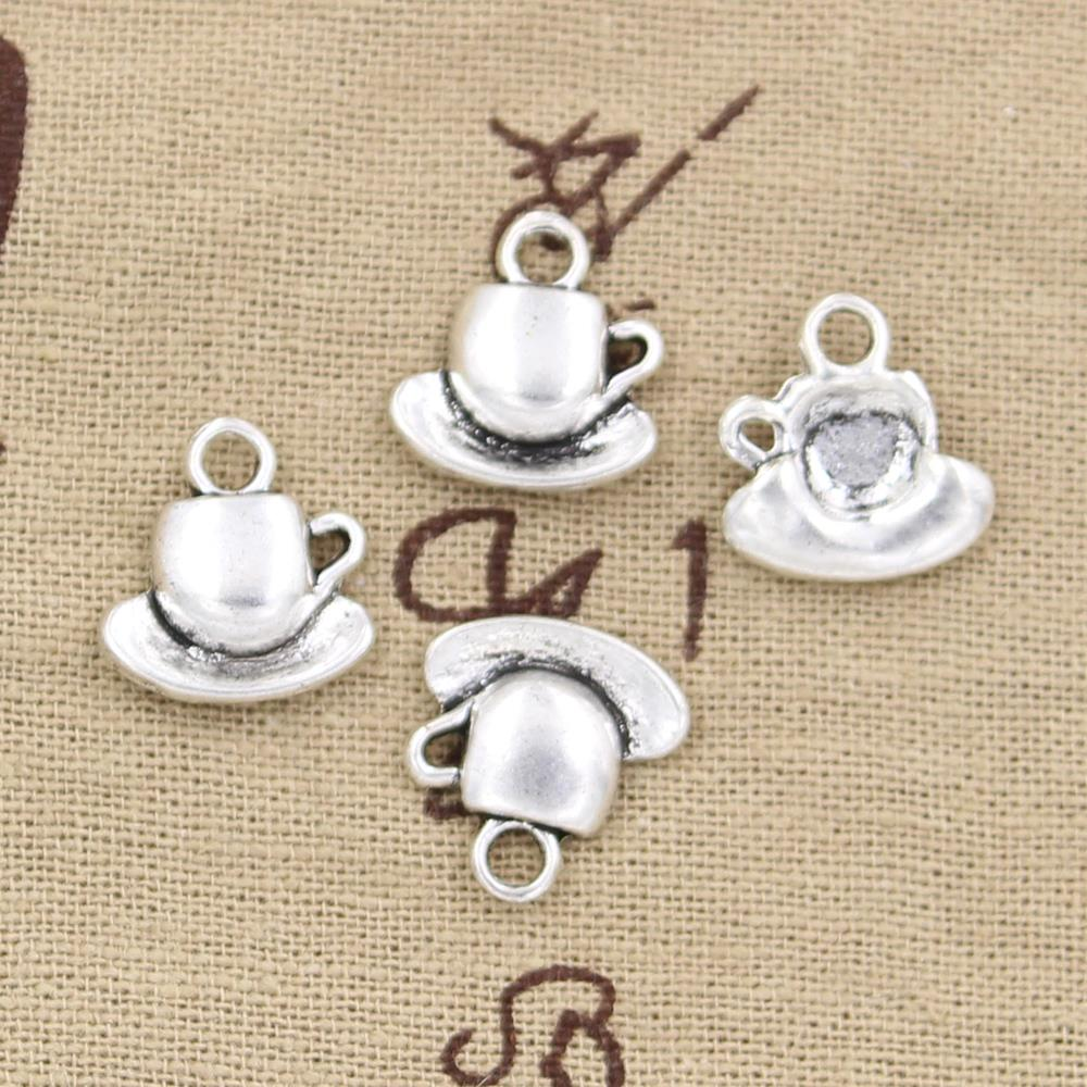 20pcs Charms coffee tea cup and saucer 15*14mm Antique Silver Plated Pendants Making DIY Handmade Tibetan Silver Jewelry
