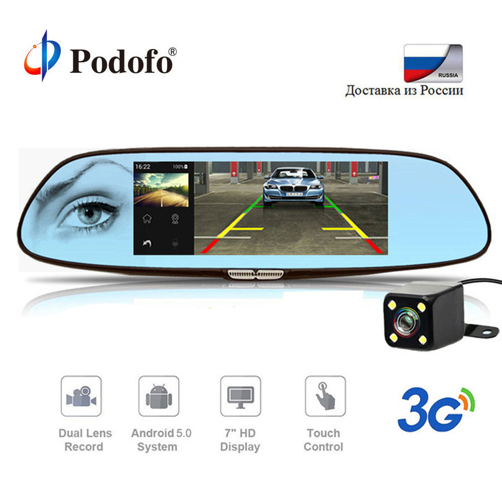 Podofo 7 Dash Cam 3G Car DVR Mirror Android 5.0 GPS Bluetooth Dual Lens WIFI Rearview Mirror Video Recorder Touch Auto Car Dvrs цена