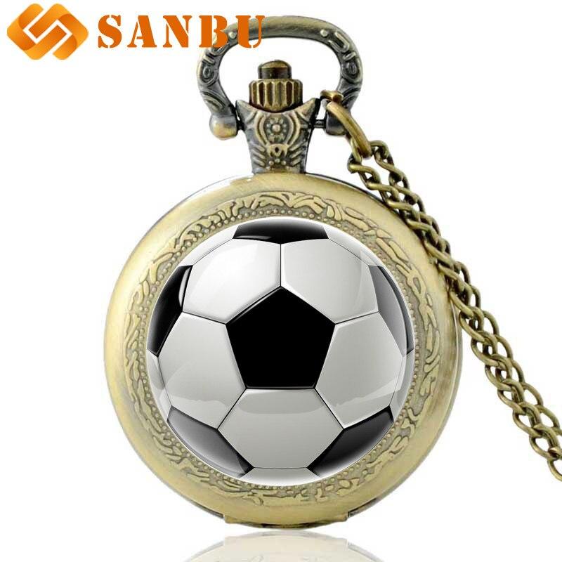 Antique Bronze Football Pocket Watch Vintage Men Women Cool Quartz Pendant Necklace Watchs