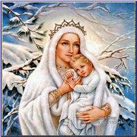 5D DIY Diamond Painting Cross Stitch Kits Snow Virgin Jesus Square Full Rhinestone Pictures Diamond Embroidery