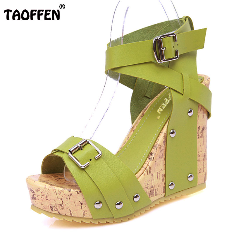 TAOFFEN Free shipping NEW high heel wedge sandals footwear fashion women dress sexy slippers shoes P5852 EUR size 33-40 free shipping 95 97 id 108672 108962 size eur 40 46