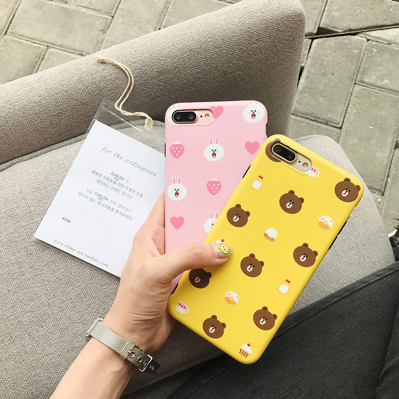 Kawaii Japanese Anime Bear Phone Case For iPhone 6 6S 7 8 Puls X Cute Rabbit Case For iPhone 7 7