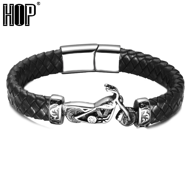 HIP Men Stainless Steel Motorcycle Black Braided Genuine Leather Bracelets & Bangles for Men Jewelry