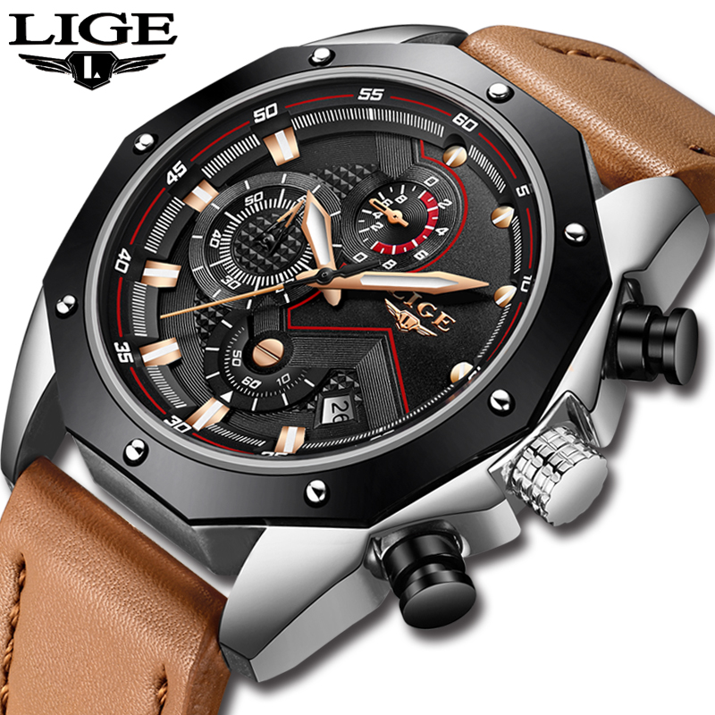 LIGE Mens Watches Top Brand Luxury Men's Military Sports Quartz Watch Men Casual Leather Waterproof Watch Relogio Masculino+Box weide mens watches top brand luxury fashion casual sports military wristwatches quartz watch men relogio masculino waterproof