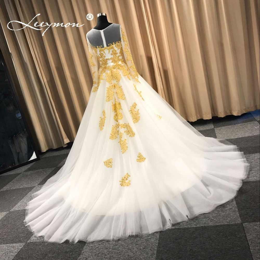 95ff09e29d8b48 ... Leeymon Muslim Wedding Dress In Dubai White and Gold Long Sleeves Wedding  Gown Beaded Lace Vestido