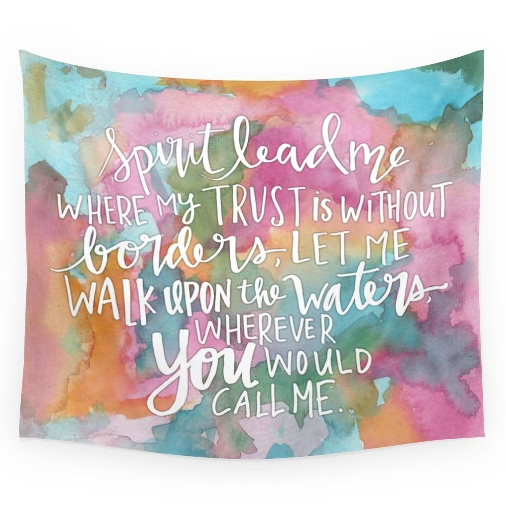Spirit Lead Me Inspirational Quote With Pink Flowers Wall Tapestry Small