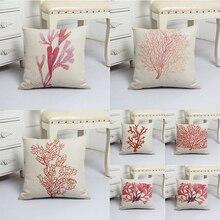 Красный коралловый лён Печатные растения Чехлы для подушек 45x45см Наволочки с водорослями Бросок