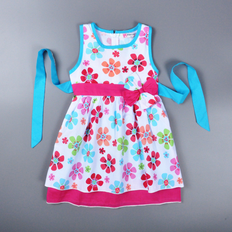 0012fa0c9 2015 baby girl dress summer style princess 100% cotton Little girls dress  pink Floral children clothing rustic robe bebe enfant