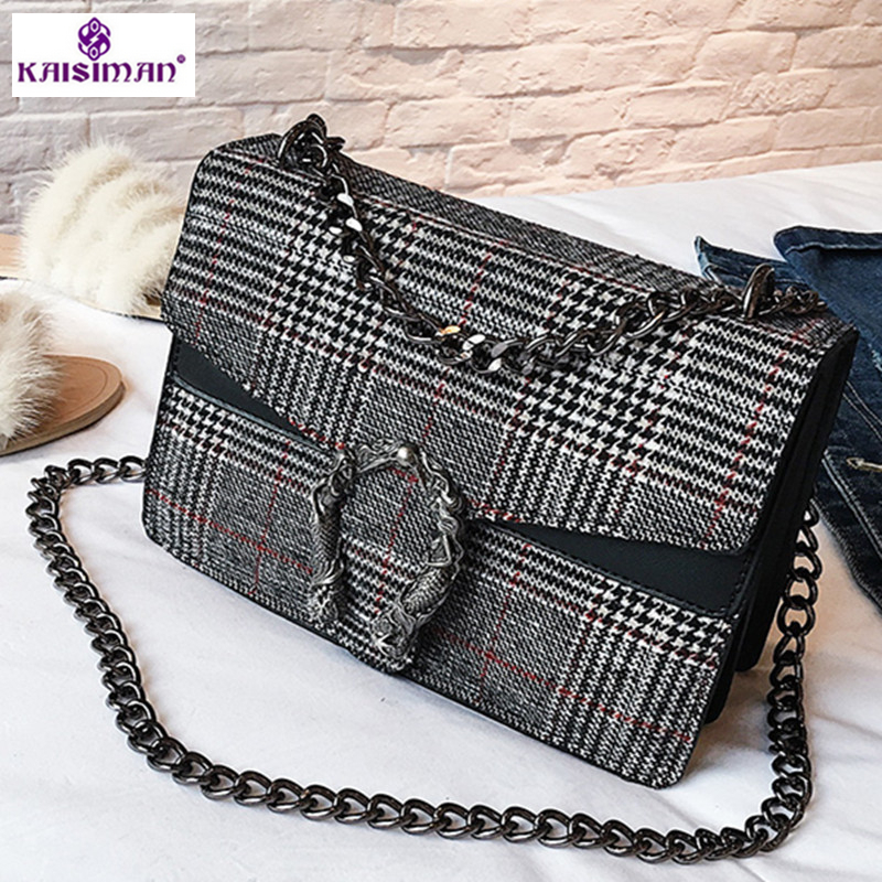 e7f5396c5e5b 2018 Hottest Women Shoulder Bag Luxury Handbag Famous Brand Women Plaid  Lattice Handbag Designer Chains Crossbody Bags for Women-in Shoulder Bags  from ...
