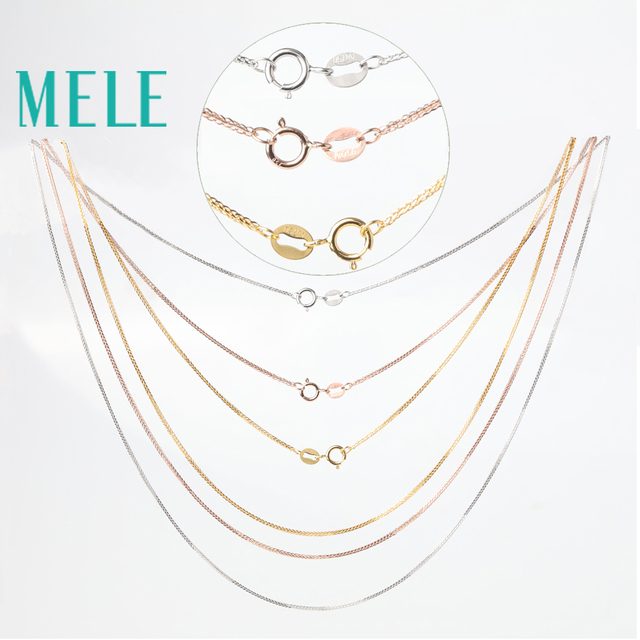MELE real 18K gold Chopin chain for jewelry pendant,1mm yellow gold rose gold and platinum vegetarian necklace for accessories 2
