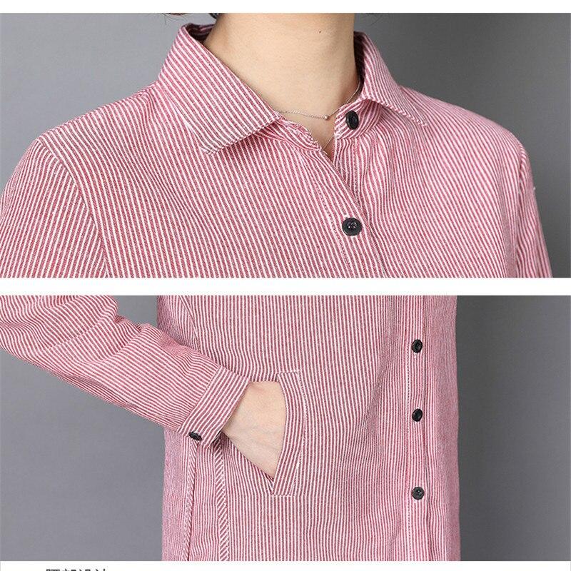 2019 Plus Casual Señoras La Tamaño Camiseta Rayas gray Blusa Camisa Primavera De Las Oficina pink Manga Sky Otoño Larga Mujeres Ropa Blue rBxqnfwrzS