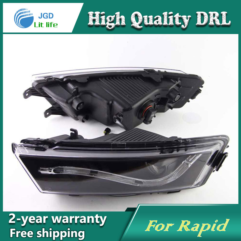 Free shipping !12V 6000k LED DRL Daytime running light case for Skoda Rapid 2013 2014 fog lamp frame Fog light Car styling