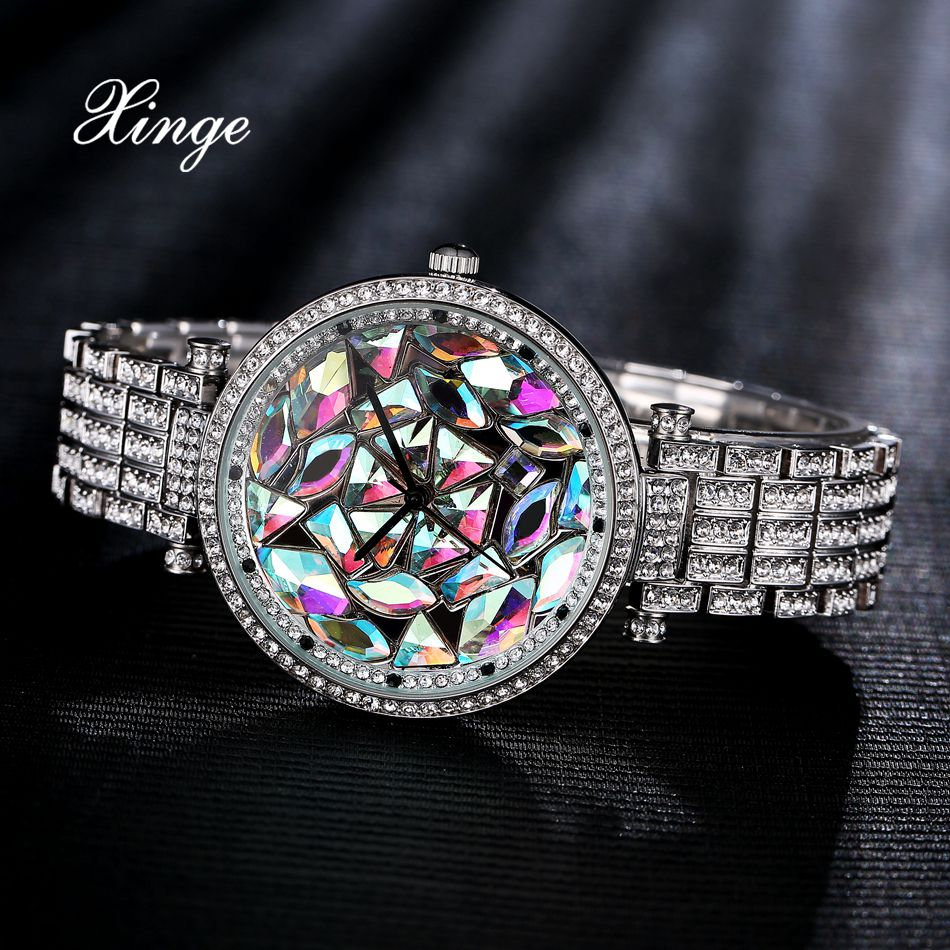 Xinge Brand Ladies Wrist Watch Luxury Silver Dress Watch Full Steel With 3A Zircon Crystal Quartz Clock Ladies Creative Watches xinge brand fashion women quartz watches crystal zircon bracelet ladies watches luxury ladies clock relogio xg1003