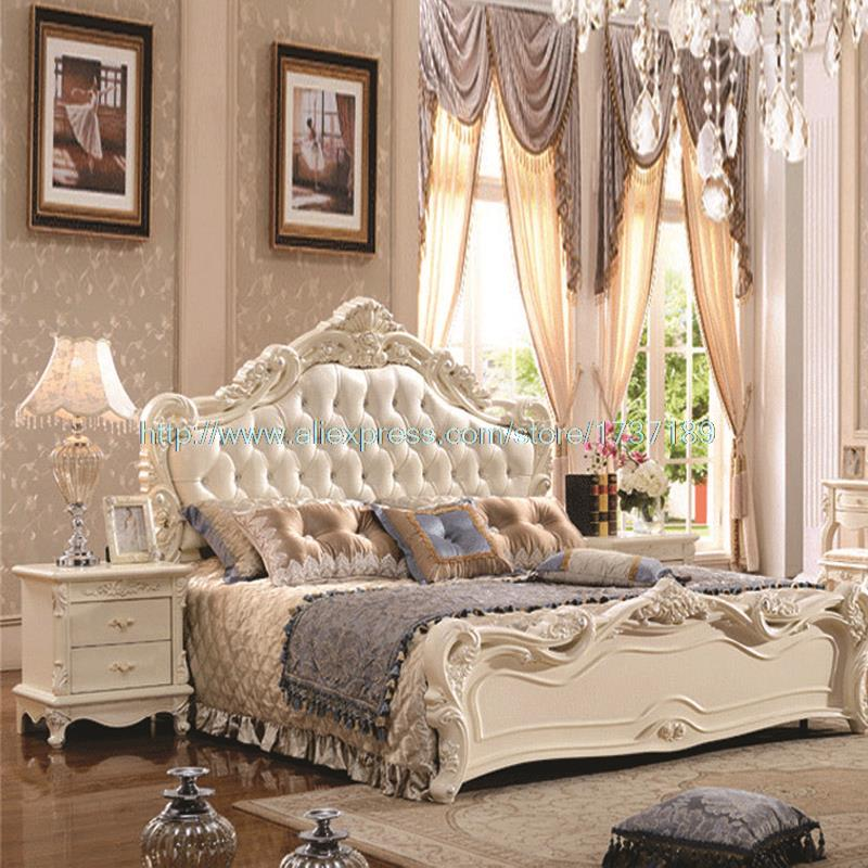 French Leather Luxury Double Bed 1 8 M Marriage White Bed