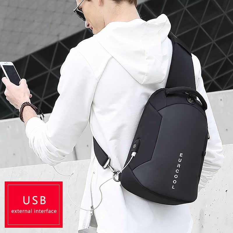Многофункциональные сумки через плечо для мужчин, зарядка через USB, нагрудный пакет, короткие походные мессенджеры, нагрудная сумка, водоотталкивающая сумка на плечо, Мужская n1825