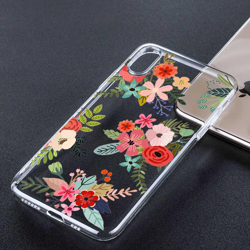 Folhas de verão flor transparente caso de telefone para iphone x xs xr xs max 6 s 7 8 plus moda tpu macio retro impressão volta capa