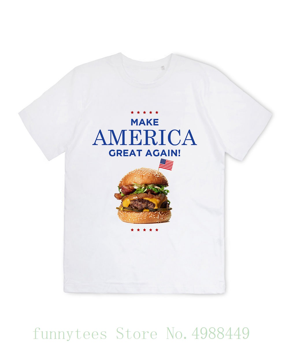 T Shirt Homme - Make America Great Again Donald Trump Burger Slogan Logo Humour Fashion New Top Tees Tshirts image