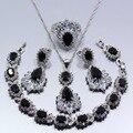 Austria Cristal Negro Creado Sapphire 4 UNIDS Sistema de La Joyería Anillo de Plata 925 Collar Colgante De Las Mujeres Caja de Regalo
