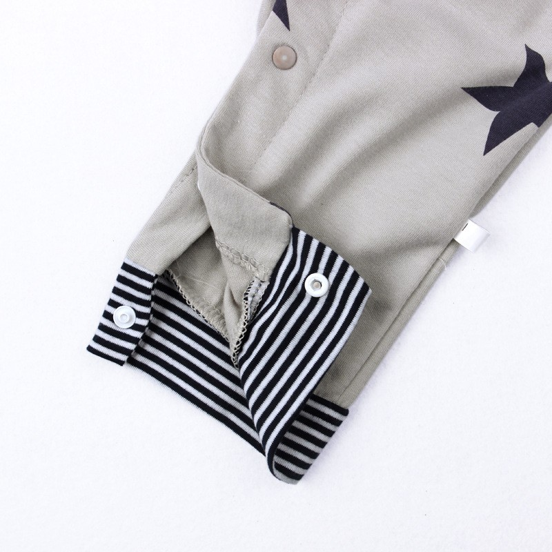 Baby Boys Baby Girls clothing set Newborn baby black grey striated T-shirt+ bib pants + hat stars pattern costumes suits (7)
