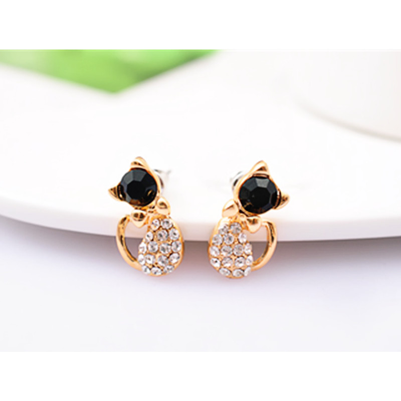 Stud Earrings 1 Pair New Cartoon Earrings Women Silver Color Stud Earrings Lovely Hollow Out Cats Sale Overall Discount 50-70%