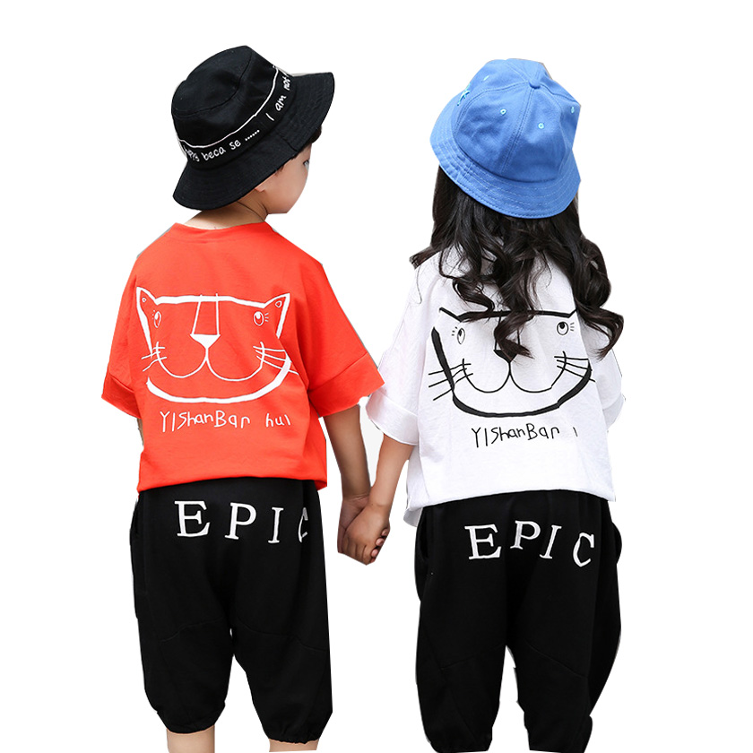 Children Summer Clothes Kids Unisex Casual Set Boys Girls Back Cat Printed Short Sleeve T Shirt and Pants 2 Pcs Set Suit S85805A