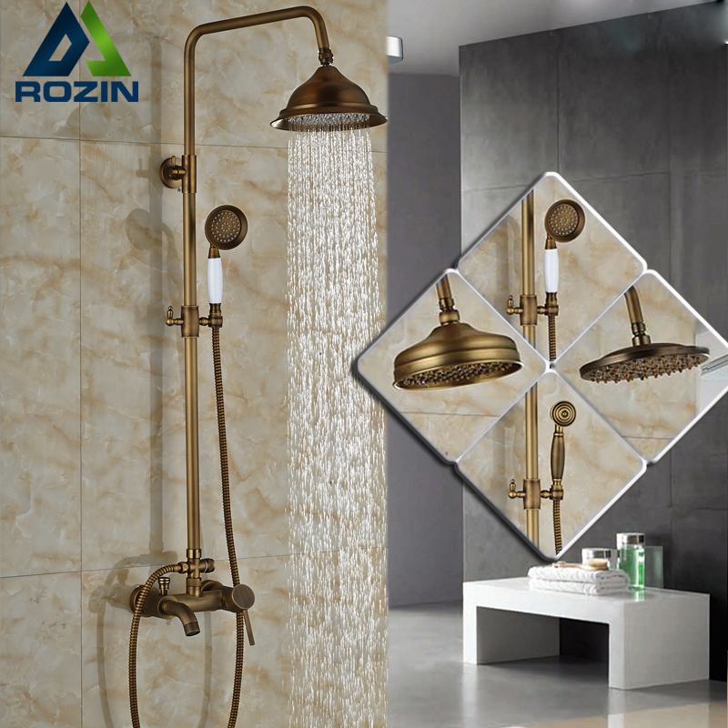 Bathroom Single Handle Bath Shower Mixer Faucet Wall Mount 8 Rainfall Exposed Shower Mixer Height Adjustable Antique Brass luxury bathroom brass ceramic antique shower faucet set single handle wall mount exposed rainfall shower mixer tap