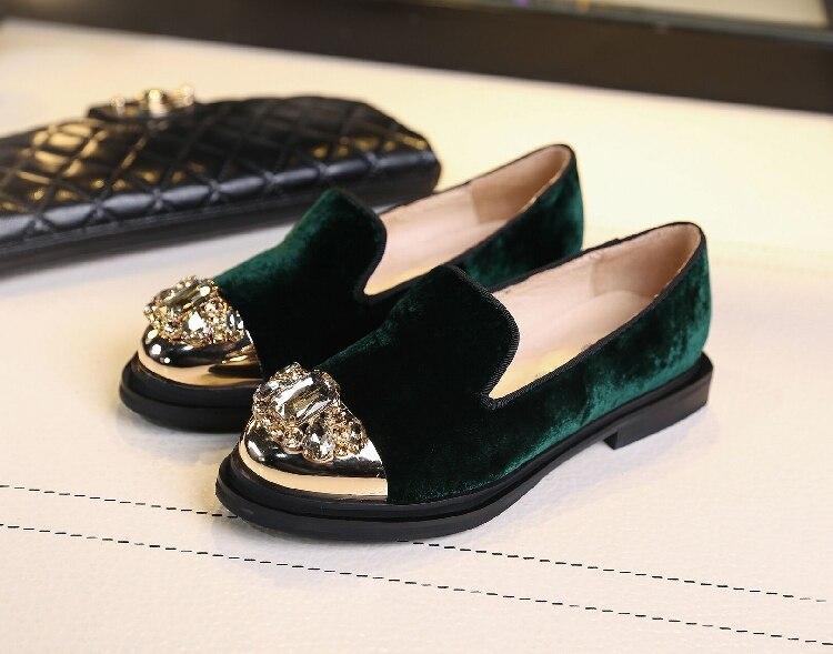 Zapatos Le Velluto Oro Ferro Per Signore Donne Basse Diamante Pattini Britannici Singole Mujer Oxford Fannulloni Creepers Scarpe 7pxw5qxa