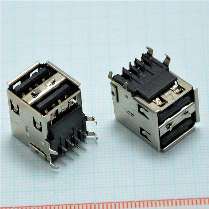 10pcs DIY black Double USB A 2.0 Female 8 pin Welding Solder Plug Jack Female Socket Connector For mobile power supply high quality 5pcs dual usb type a female 8 pin socket connector diy