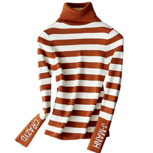 High Quality Letter Embroidery Striped Thick Sweaters Autumn Soft Female Pullovers Turtleneck Knitted Winter Warm Sweater 2018 autumn winter sweaters dress 2019 women turtleneck knitted pullovers sweater high quality long female vintage thick warm dress