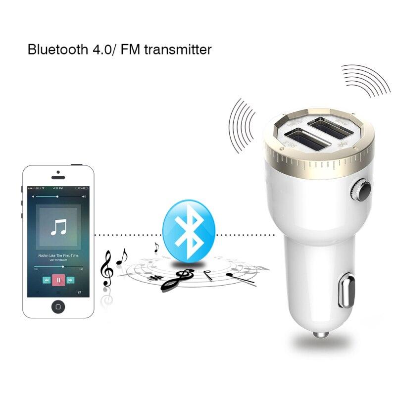 imágenes para Dual USB Cargador de Coche Mini Adaptador Audio Transmisor FM Bluetooth 4.0 Wireless Display LED 2.1A Para Samsuang Iphone Laptop