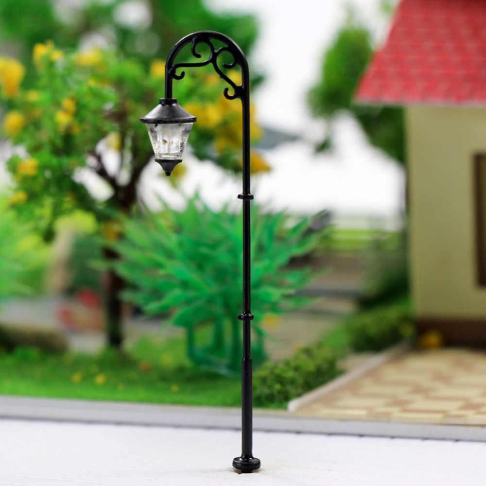 LYM55 10pcs 1:87 Model Railway Train HO Scale Lamp Post Single Head Street  Lights LEDs NEW Miniature Warm White