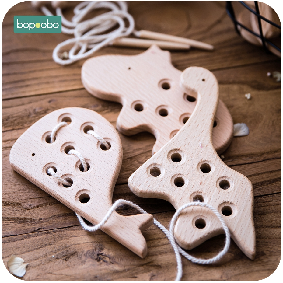 Bopoobo Infant Toys Educational Beech Wooden Animals Toys Teething Develop Intelligence Children Montessori Waldorf Baby Goods