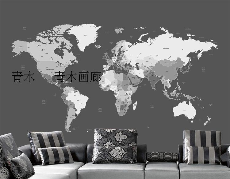 Free Shipping Black white world map TV sofa coffee house background wall living room bedroom study wallpaper mural  free shipping hepburn classic black and white photos wallpaper old photos tv background wall mural wallpaper