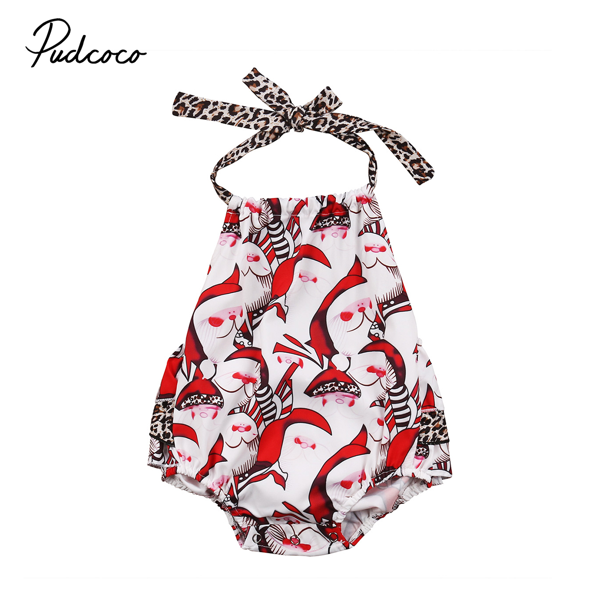 Red Santa Claus Halter Rompers Jumpsuit Summer Baby Girls Cute Xmas Romper Clothes Children Christmas Clothing