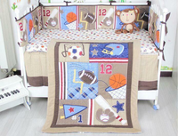 Baseball Baby Crib Cot Bedding Quilt Bumper Sheet Dust Ruffle Set Of 4pcs Gift Baby Bedding Set