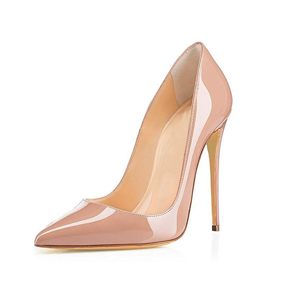 GENSHUO Heeled Shoes Stiletto Women Pumps Pointed-Toe Nude Sexy Big-Size Ladies 8cm 42